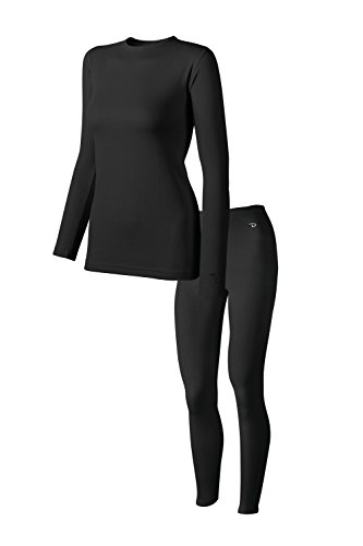 Duofold Mid-Weight Women's Thermal Set (Long Sleeve Crew and Long Johns) - Black - (Duofold Long Sleeve Long Underwear)