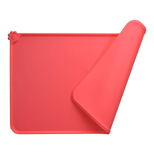 Guardians Dog Food Mat, Silicone Pet Feeding Mats, Non Slip Waterproof Cat Bowl Trays Food Container Placemat for Small Animals (18.5