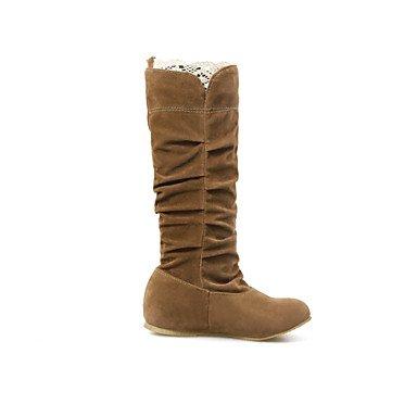 polipiel Mujer caminando vestir de Brown Comfort Invierno cuña casual Otoño Botas hebilla tacón wqxXPF5B