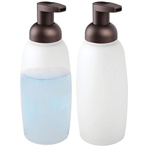mDesign Modern Glass Refillable Foaming Soap Dispenser Pump Bottle for Bathroom Vanity Countertop, Kitchen Sink - Save on Soap - Vintage-Inspired, Compact Design - 2 Pack - Clear Frost/Bronze