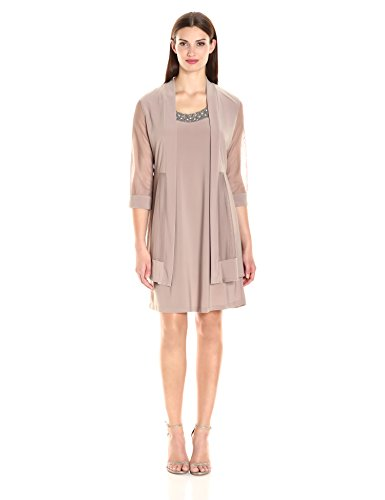 R&M Richards Women's 2 Piece Mesh Panel Beaded Neck Jacket Dress, Taupe, 12