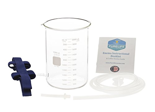 Glass Enema Bucket - 2 Qt - Non Toxic Glass Enema Kit - Best Enema Kit for Coffee Enemas / On Sale This Week! / 100% Glass Spigot / No - Glasses On Parts