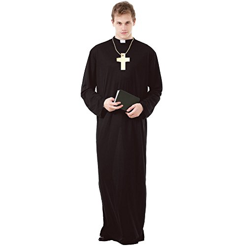 Prayerful Priest Men's Halloween Costume Catholic Cardinal Monk Friar Robes, Black, Medium]()