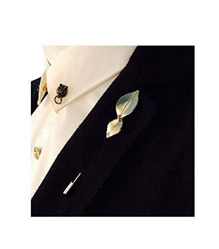 - YUMILY Mens Korean Style Vintage Double-Leaf Suits Shirt Tie Stick Lapel Pin
