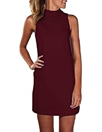 5265b3f4f3d Womens Turtleneck Sleeveless Pure Color Plus-Size Short Dresses