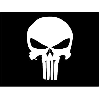 Punisher skull decal sticker white black silver yellow or red