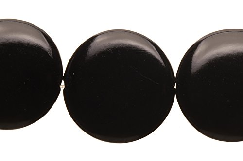 - Puffed Black Agate Flat Round Beads Semi Precious Gemstones Size: 28x28mm Crystal Energy Stone Healing Power for Jewelry Making