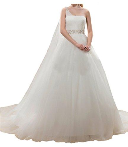 Milano Bride Anmutig Tuell Ein-Schulter Hochzeitskleid Brautkleider A-Linie mit Schleppe Band Strass