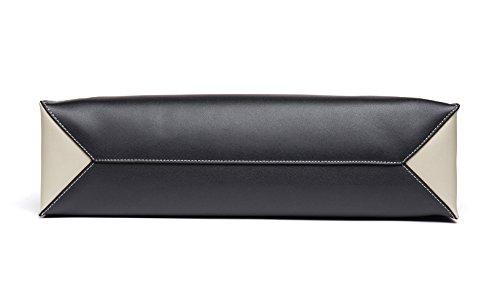 Bag Leather Shoulder Black Shopping OSONM Bag Color Womens Handle and Cow Tote Handbag Top Pure White Bags Bag Bpw6CIx