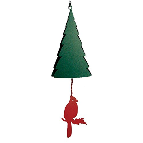 Wilderness Bell: Mt Katahdin Pine Tree Wind Bell with Red Cardinal Wind Catcher