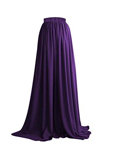 Soire Mariage Longue Chiffon Maxi Haute Violet Taille Jupe pour Femme Jupe CoutureBridal U0Yq44w