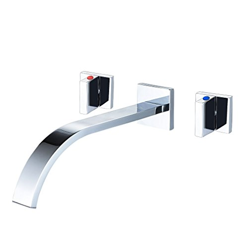 ROVATE Bathtub Faucet Wall Mount, Waterfall 3 Holes Bathroom Tub/Vanity Faucet, Contemporary Chrome Polished - Chrome Tub Wall Mount Faucet