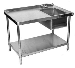 24x60 All Stainless Steel Work Table With Prep Sink On Right by Sani-Safe