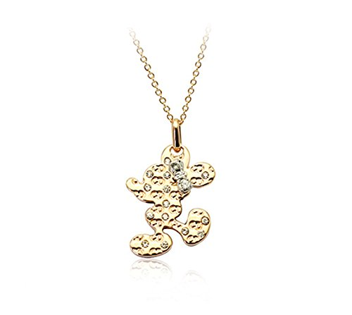 [Mickey Mouse with Swarovski Elements Crystal Pendant Necklace Fashion Jewelry for Women] (Female Mickey Mouse Costumes)