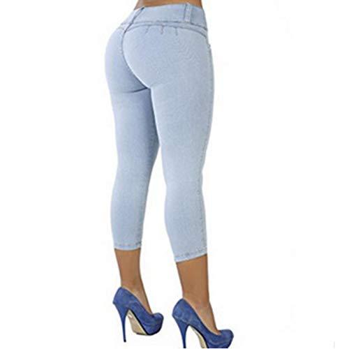 Size FAIYIWO Soild Coloured Casual Slim Womans Low-Waistline Zipper Tight Cropped Straight-Leg Cotton Jeans FAIYIWO Dark Blue XL