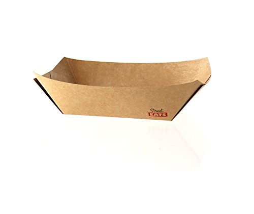 Kraft Brown Paper Food Tray Boat (Case of 1000), PacknWood - Party Supplies Snack Trays (13.5 oz, 6.7'' x 4.7'' x 1.2'') 210BQKEAT4 by PacknWood (Image #2)
