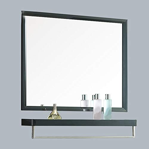 5070cm Stainless Steel Bathroom Mirror Bright Black Bathroom Wall Hanging Mirror with -