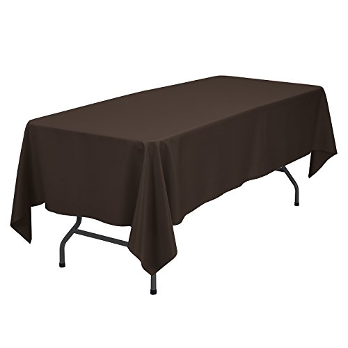 - VEEYOO Rectangular Tablecloth 100% Polyester Oblong Table Cloth for Bridal Shower - Solid Soft Oval Table Cover for Wedding Party Restaurant Party Buffet Table (Chocolate, 60x102 inch)
