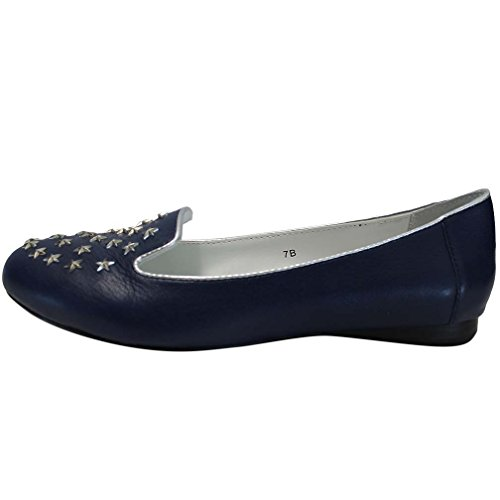 Luxury Divas Genuine Leather Loafers With Silver Star Studs Navy Blue hRmokiD2Ek