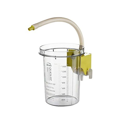 Bemis Healthcare 1500SC 01 Reusable Outer Canister with Attached Yellow Stopcock Bracket, 1500 cc