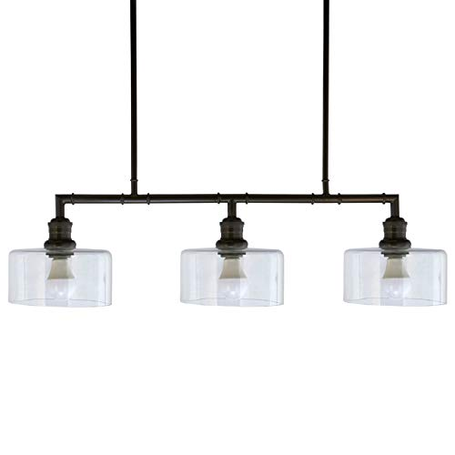 Stone & Beam Industrial Triple Glass Shade Ceiling Hanging Pendant Chandelier Fixture - 23 x 7 x 36 Inches, Gunmetal Black