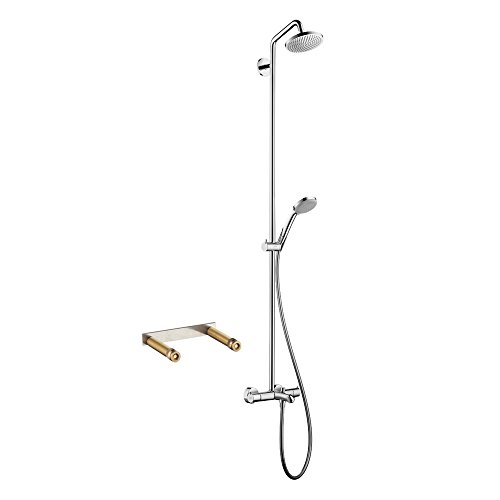 Hansgrohe KTS27143-16181CR Croma Green Tub/Shower Showerpipe with Thermostatic Basic Set (Best Exposed Thermostatic Shower)