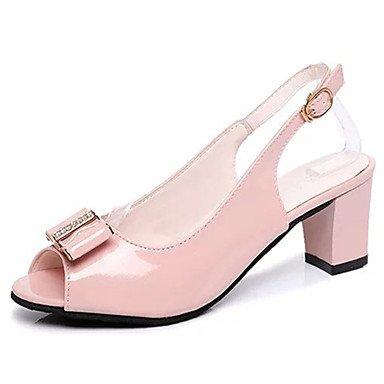 LvYuan Mujer Sandalias Confort Goma Verano Paseo Confort Hebilla Talón de bloque Blanco Negro Rosa Menos de 2'5 cms blushing pink