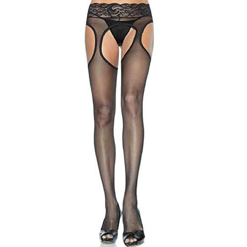 Leg Avenue Women's Plus Size Lace Waist Sheer Garter Pantyhose, Black ()