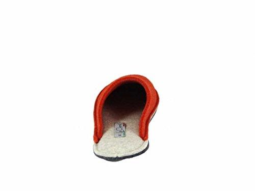 Le Clare Pantofola Uomo e Donna in Panno di Lana - Unisex Bicolore Arancio-Beige