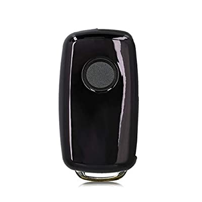 kwmobile Car Key Cover Compatible with VW Skoda SEAT 3 Button Car Key - TPU Silicone Key Fob Cover with Varnished Buttons - Black High Gloss/White: Automotive