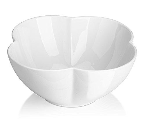 DOWAN 1.7 Quart Porcelain Serving Bowls-3 Piece Salad/Fruit Bowl Set, White, Flower Shape