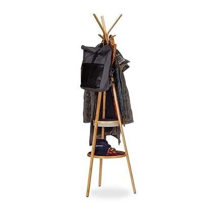 Relaxdays Perchero de Pie con 6 Ganchos, Bambú, Beige y Gris, 50x50x171 cm