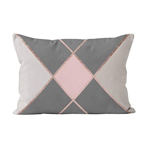 Gygarden Modern Pink Gray Color Block Rose Gold Stripes Beauty Hidden Zipper Home Decorative Rectangle Throw Pillow Cover Cushion Case 12x20 Inch Boudoir One Side Design Printed - Stripe Gold Gray