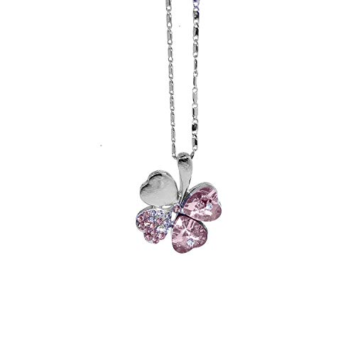 GTNINE Light Pink Crystal Four-leaf Clover Charm Pendant Necklaces Chain for Womens Jewelry
