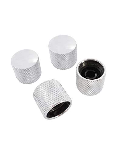 Metallor Knurled Chrome Metal 18mm Diameter Dome Style Guitar Tone or Volume Control Knobs Compatible with 6mm Solid Shaft Tele Telecaster Style Electric Guitar Bass Parts Replacement Set of 4Pcs.