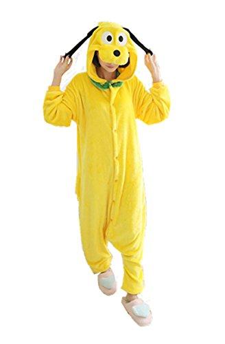 Goofy Pajama Costumes (Sensfun Senfun Cute Pyjamas Yellow Animal Pajamas Flannel Kigurumi Cosplay Costumes Agoofymovie (Goofy S))
