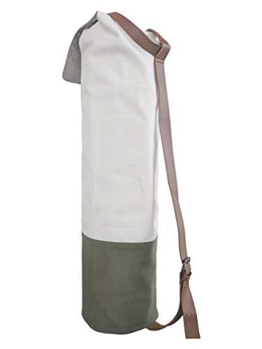 Large Yoga Mat Bag For Men and Women | Made With Canvas & Leather | Adjustable Shoulder Strap (Olive) | Eco-friendly