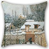 Artistdecor Oil Painting Alfred Sisley - Snow At Louveciennes Cushion Cases ,best For Bedding,father,bench,outdoor,festival,husband 16 X 16 Inches / 40 By 40 Cm(2 Sides)