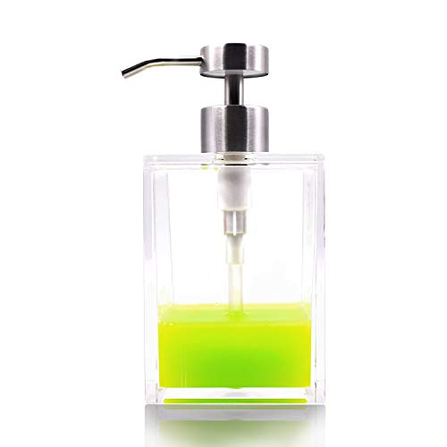 HONJAN Hand Dish Soap Dispenser,18oz Clear Acrylic Bath Countertop Soap Dispenser with 18/8(304) Stainless Steel Pump for Kitchen Bathroom