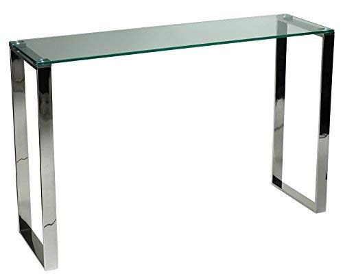 Cortesi Home Remi Contemporary Glass Console Table with Chrome - Office Table Modern Console