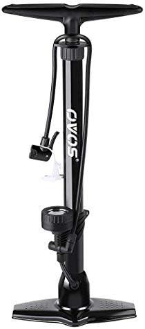 JF-XUAN 自転車アクセサリー, アウトドアスポーツペダルポンプ自転車ポンプの高圧力金属と圧力計エアーポンプ最大160 PSIは、アダプターセット用の電気自動車オートバイバスケットボールマウンテンバイク自転車ユニバーサル弁を含みます