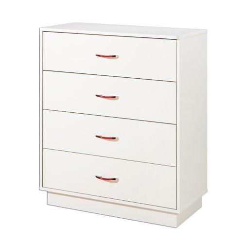 South Shore Furniture, Logik Collection, 4 Drawer Chest, Pure White - Bureau Dresser