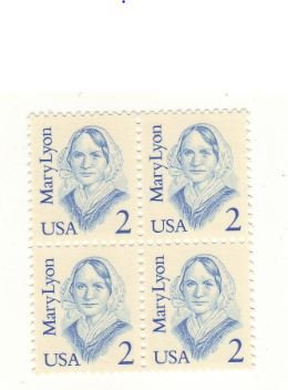 US postage stamps- MNH plate block of 4 x 2 cents-1987 2c Mary Lyon - Catalog # ()