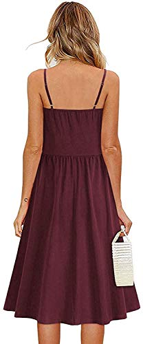 Women Tie Front V-Neck Sun Dress Leopard Print Spaghetti Strap Dresses Sexy Backless A-Line Midi Dress with Pockets (Red, S, s)