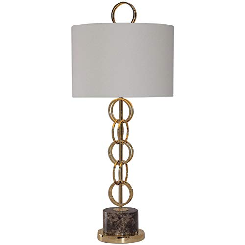 Gold Metallic Plated Fabric - Table Lamps 1 Light Fixtures with Metallic Plated Gold and Brown Marble Iron Marble Fabric 3-Way 15
