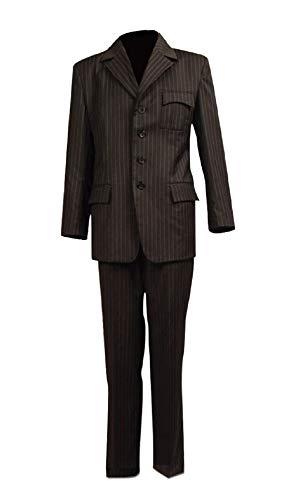 Allten Men's Cosplay Costume Dr Brown Pinstripe Suit Blazer Pants XL