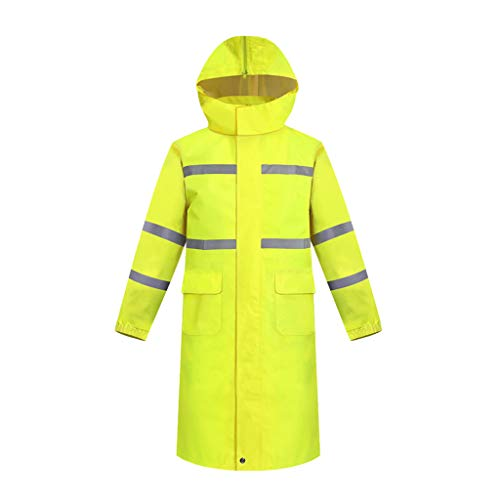 GLJJQMY Workwear Double Layer Tape High Visibility Long Sleeve Polo Shirt Reflective Belt Safe Work Button Breathable Thin Waterproof Rain Poncho (Color : Fluorescent Yellow, Size : XXXL)