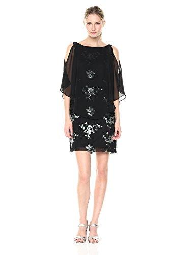 Sandra Darren Women's 1 PC Sleeveless Chiffon Overlay Sequin Sheath Dress, Winter Empress/Black, 12