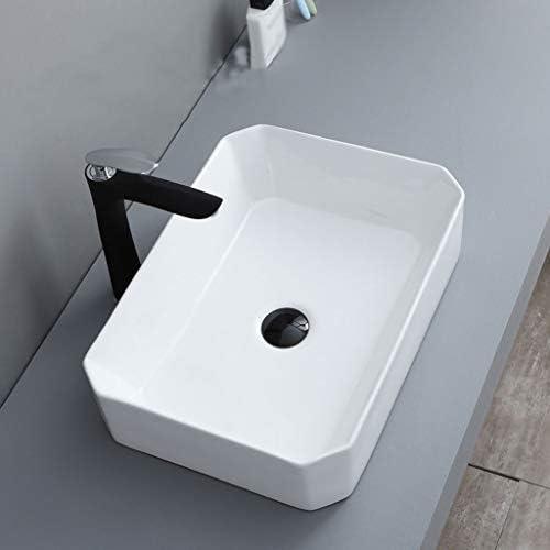 WJ 洗面台 (タップなし)バスルームの洗面台、正方形セラミック上記カウンタ流域ホテル浴室シンク技術の単一流域、2つのサイズの数 /-/ (Size : 51X37X13cm)