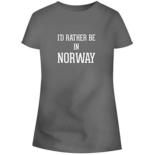 One Legging it Around I'd Rather Be in Norway - Women's Soft Junior Cut Adult Tee T-Shirt, Grey, X-Large